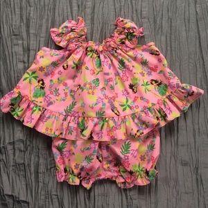 Hawaiian top shorts set pink hula floral 6 months